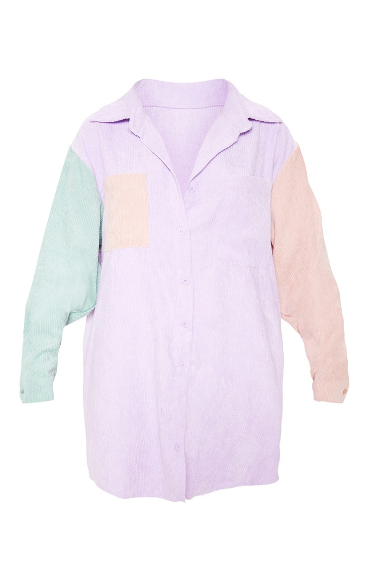 Multi Colour Block Cord Pocket Front Oversized Shirt Dress 3