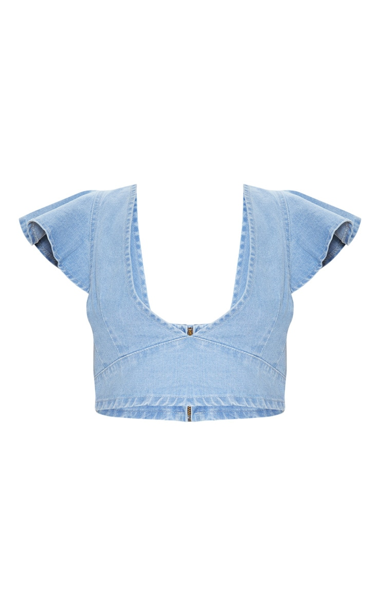 Light Wash Flared Sleeve Crop Top  3