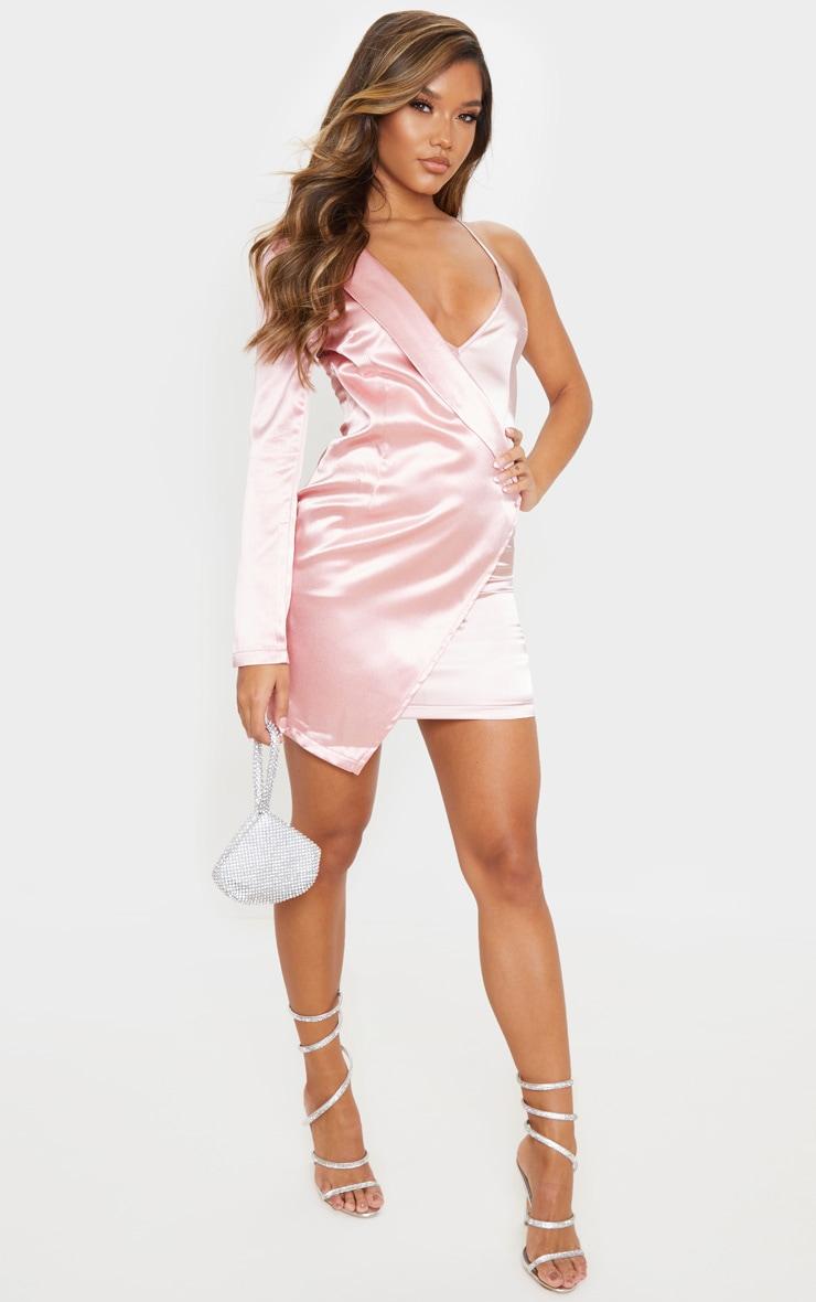Blush Satin One Shoulder Blazer Dress 1
