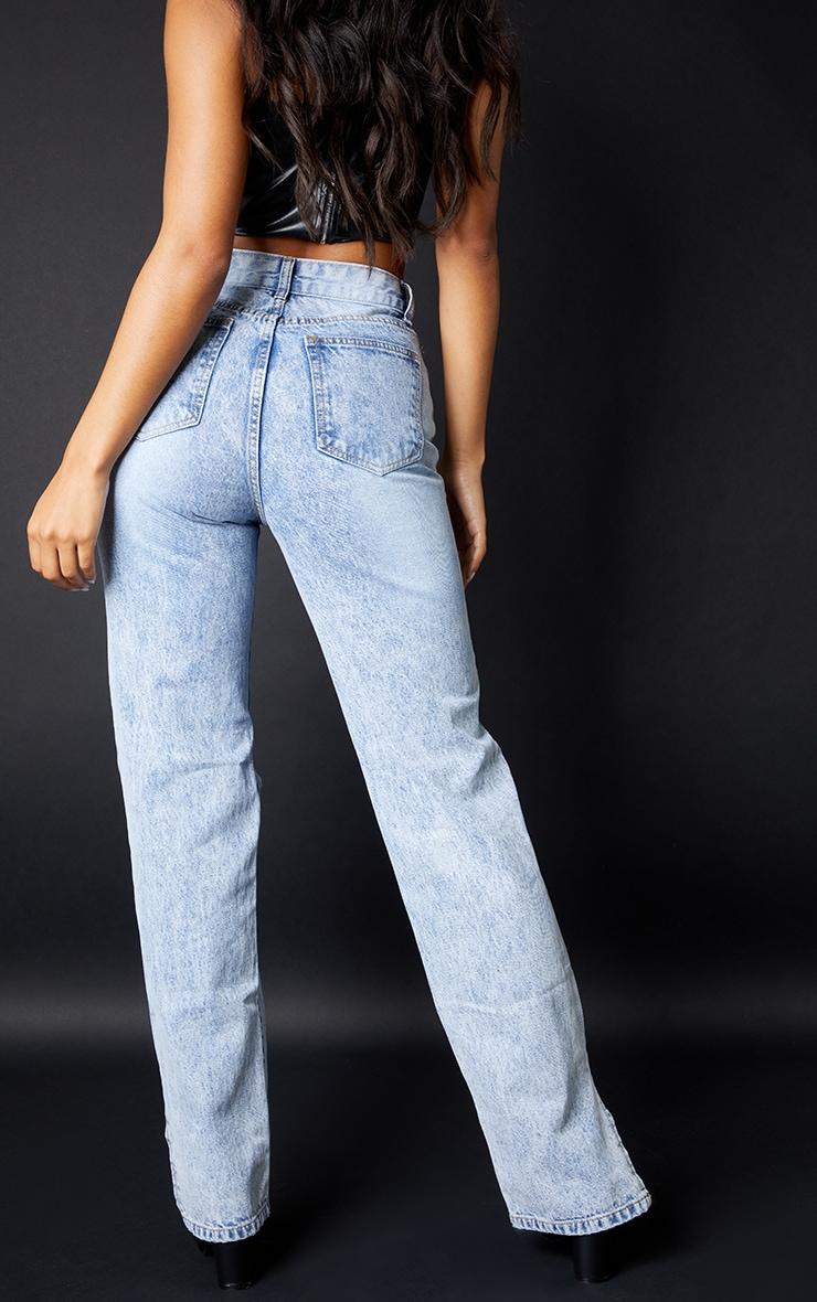 Ice Blue Ripped Split Hem Jeans 3