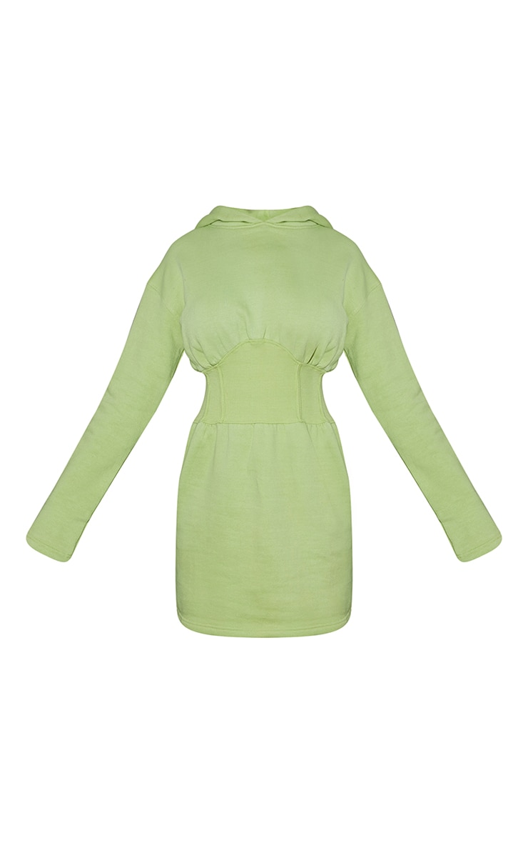 Washed Lime Ribbed Binding Waist Detail Hooded Jumper Dress 5