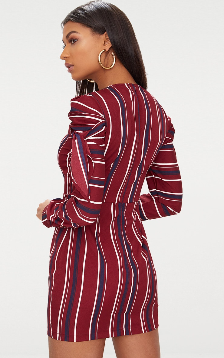 Burgundy Striped Long Sleeve Tie Detail Bodycon Dress 2