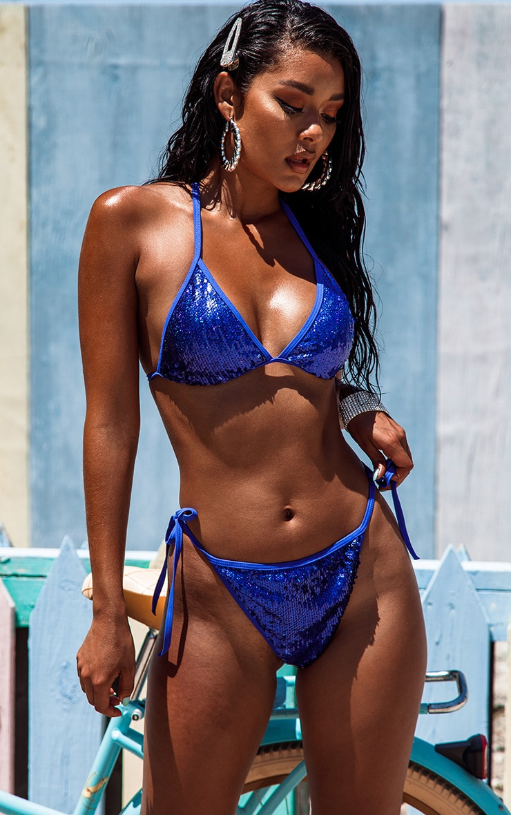 Cobalt Sequin Triangle Bikini Top
