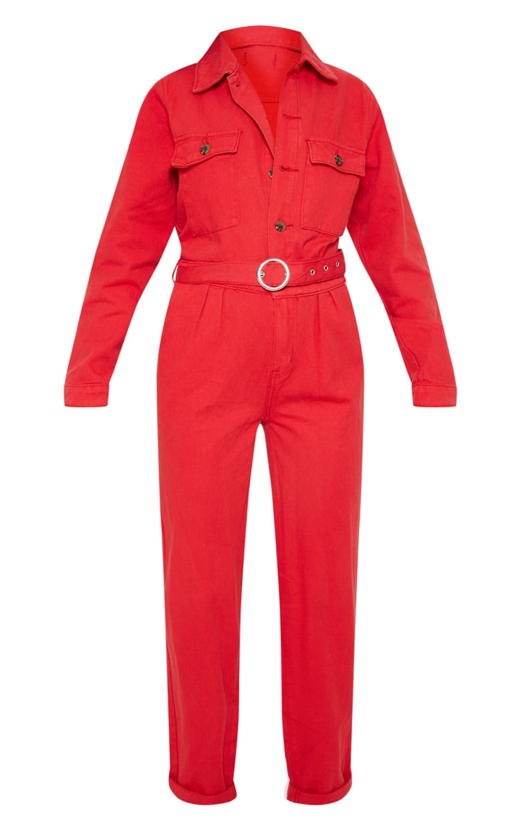 Red Tortoise Button Belted Denim Boilersuit 3