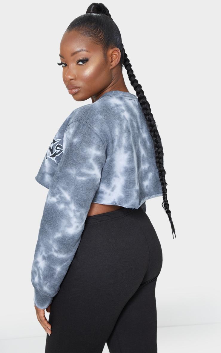 Petite Dark Grey Tie Dye Los Angeles Cropped Sweater 2