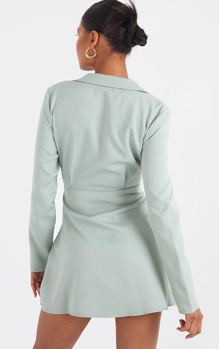 Sage Green Cut Out Collar Detail Bodycon Dress 2
