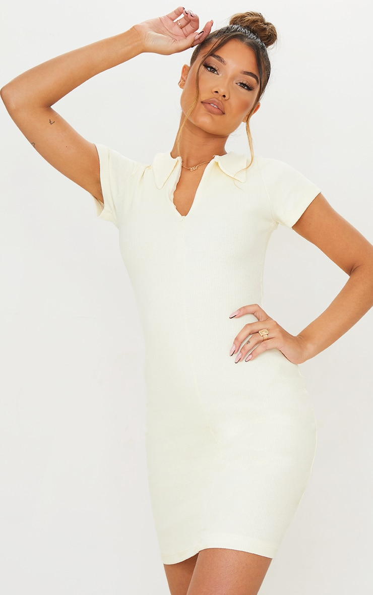 Cream Thick Rib Zip Up Polo Collar Bodycon Dress 2
