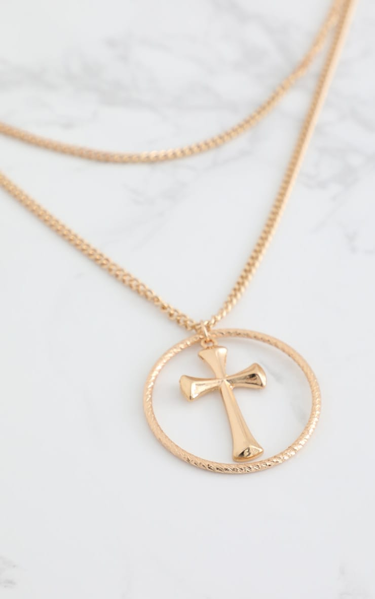 Gold Layered Chunky Cross Necklace 4