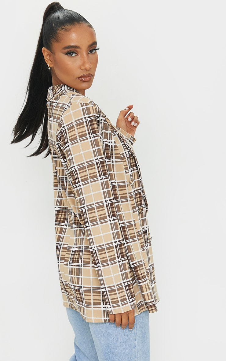 Brown Checked Triple Breasted Oversized Crepe Blazer 2