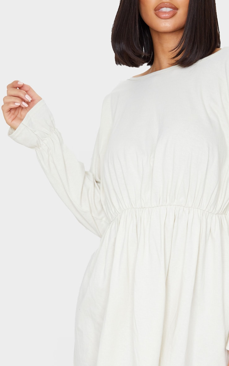 Ecru Long Sleeve Frill Cotton Elastane Cuff Smock Dress 5
