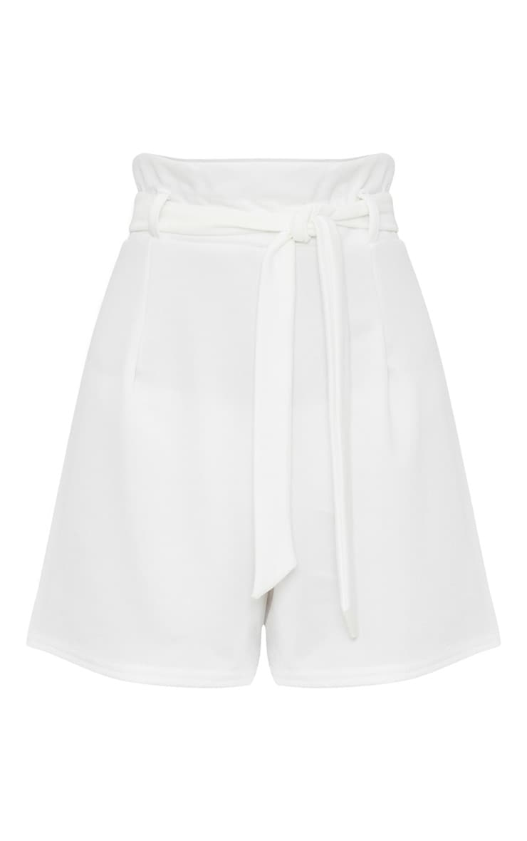 White High Waisted Tie Front Short  3