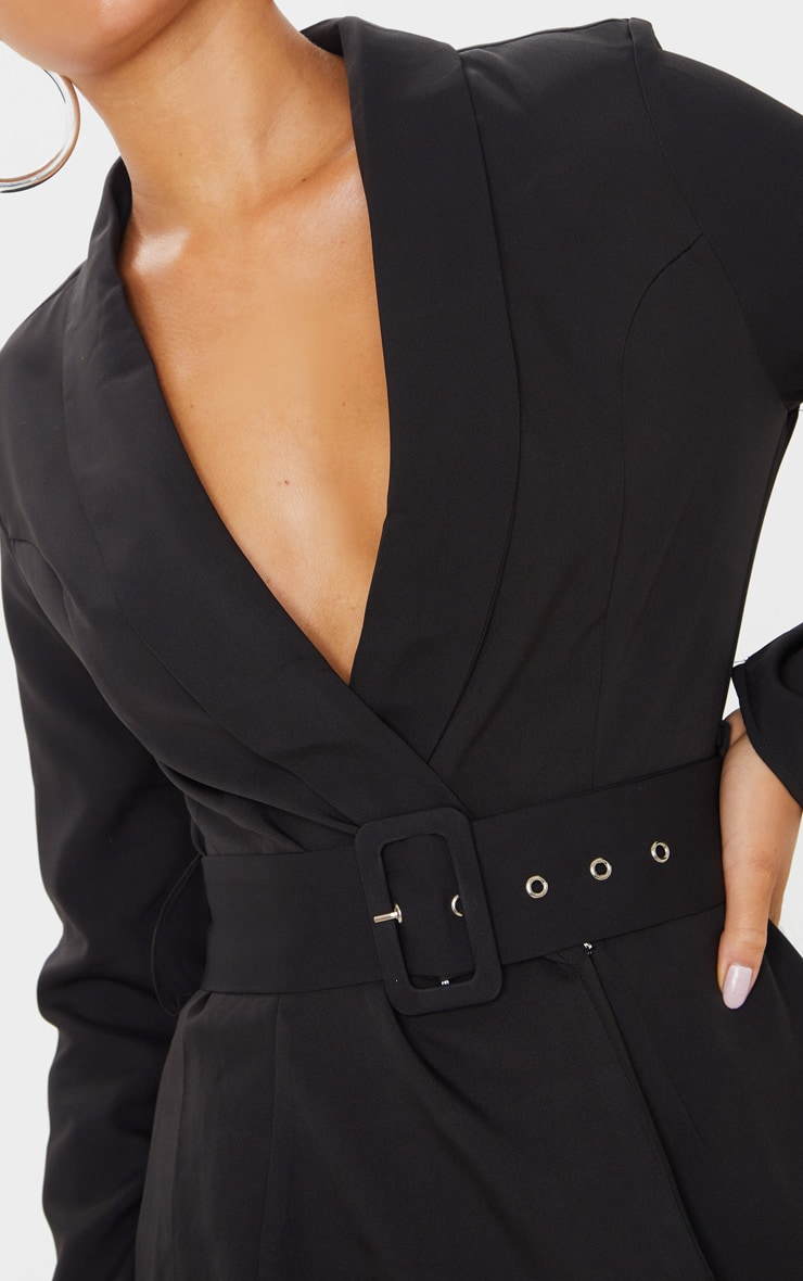 Black Long Sleeve Tailored Belted Playsuit 5