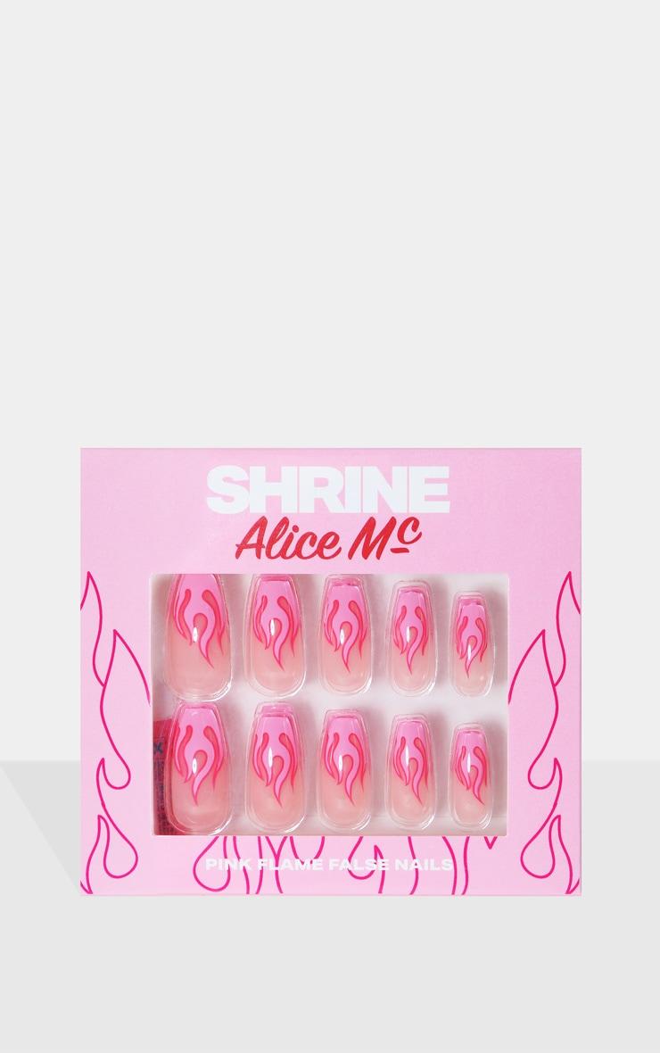 SHRINE X Alice Mc Pink Flames Stick On Nails 2