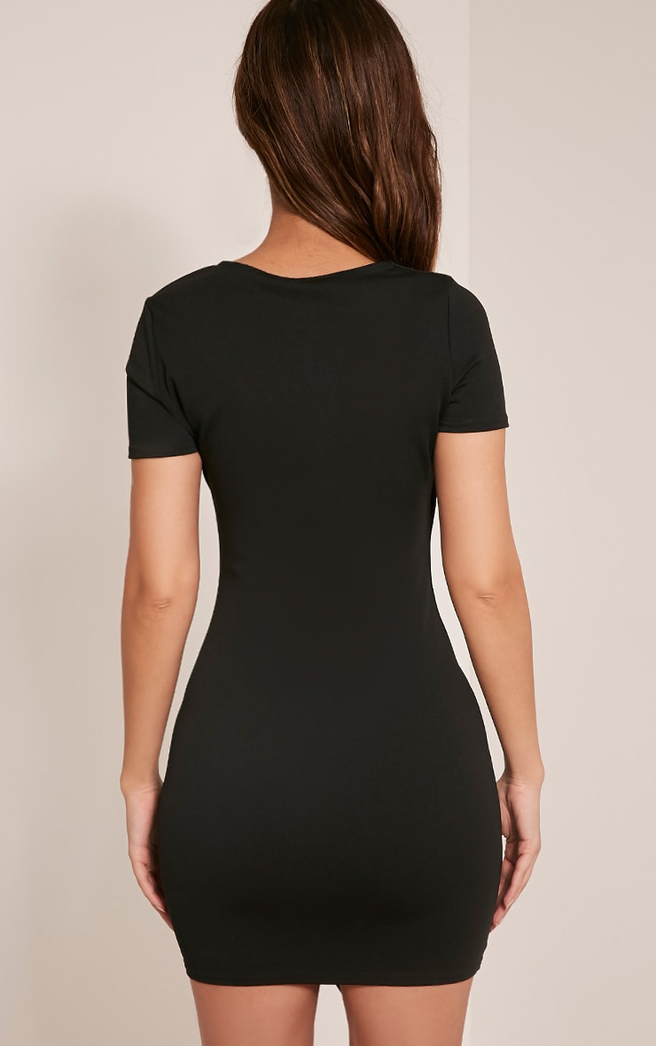 Amarnie Black Capped Sleeve Bodycon Dress 2