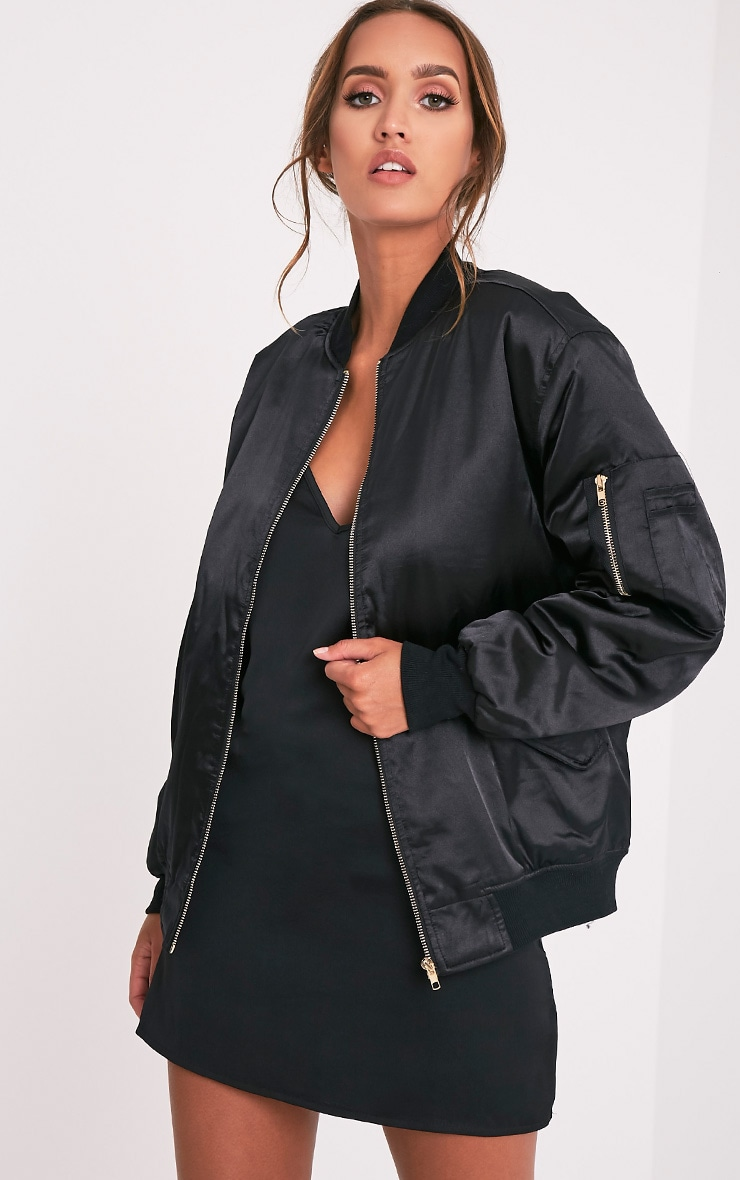 Cruz Black Satin Oversized Bomber Jacket 1