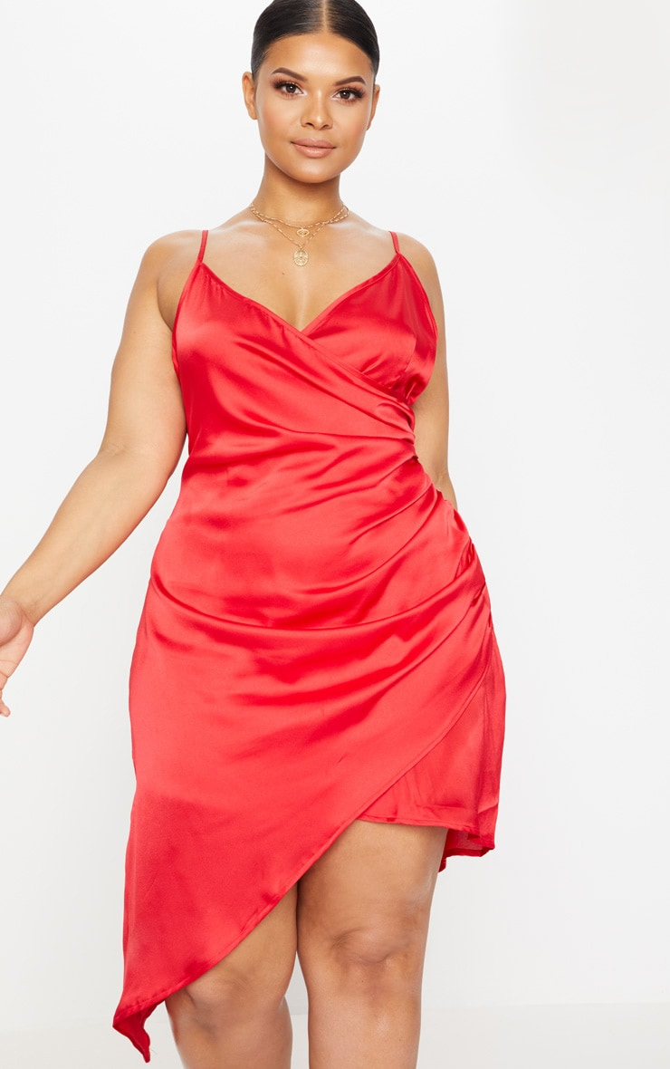 Red Plus Satin Wrap Dress 1