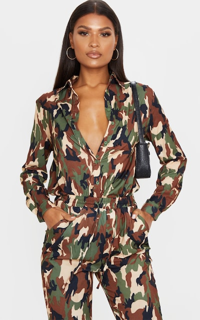 Green Camo Print Oversized Shirt
