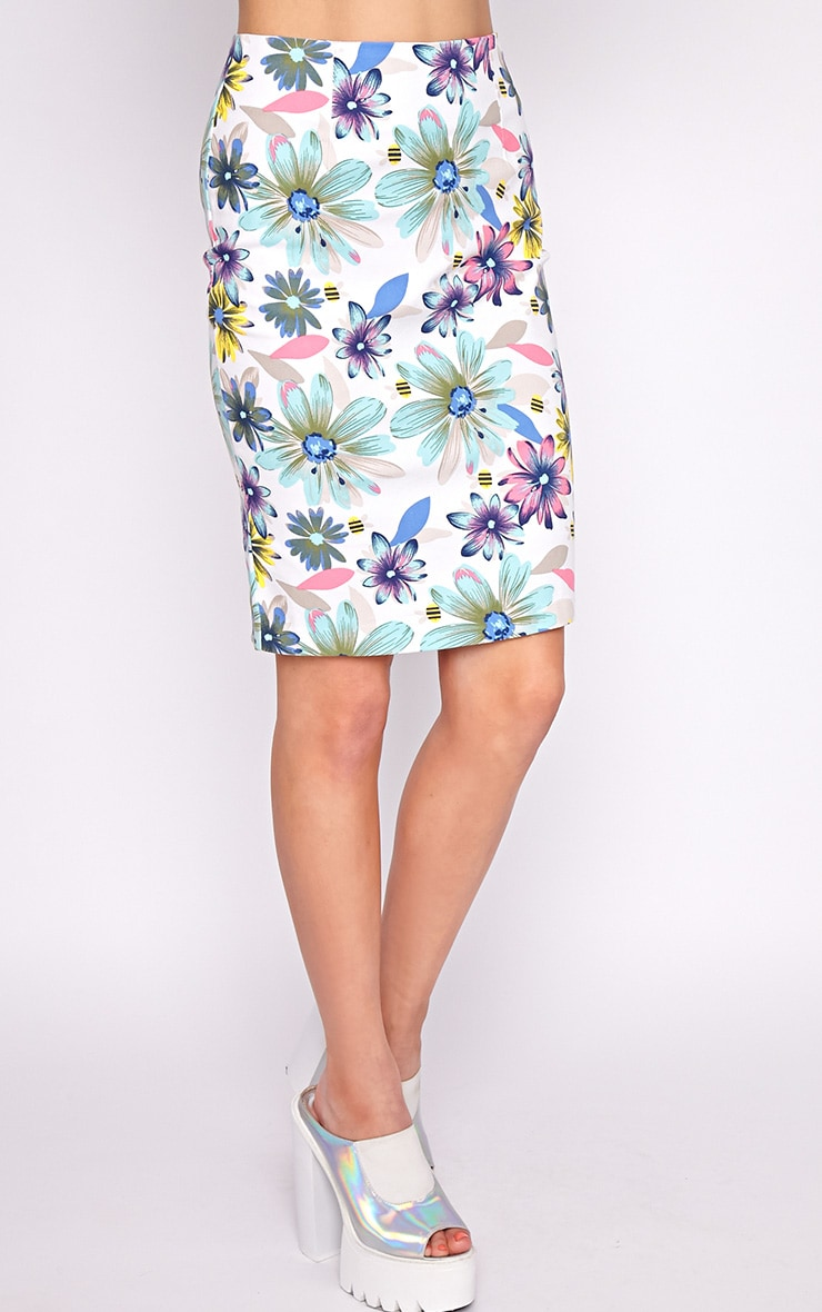 Ashleigh Mint Floral Midi Skirt  4