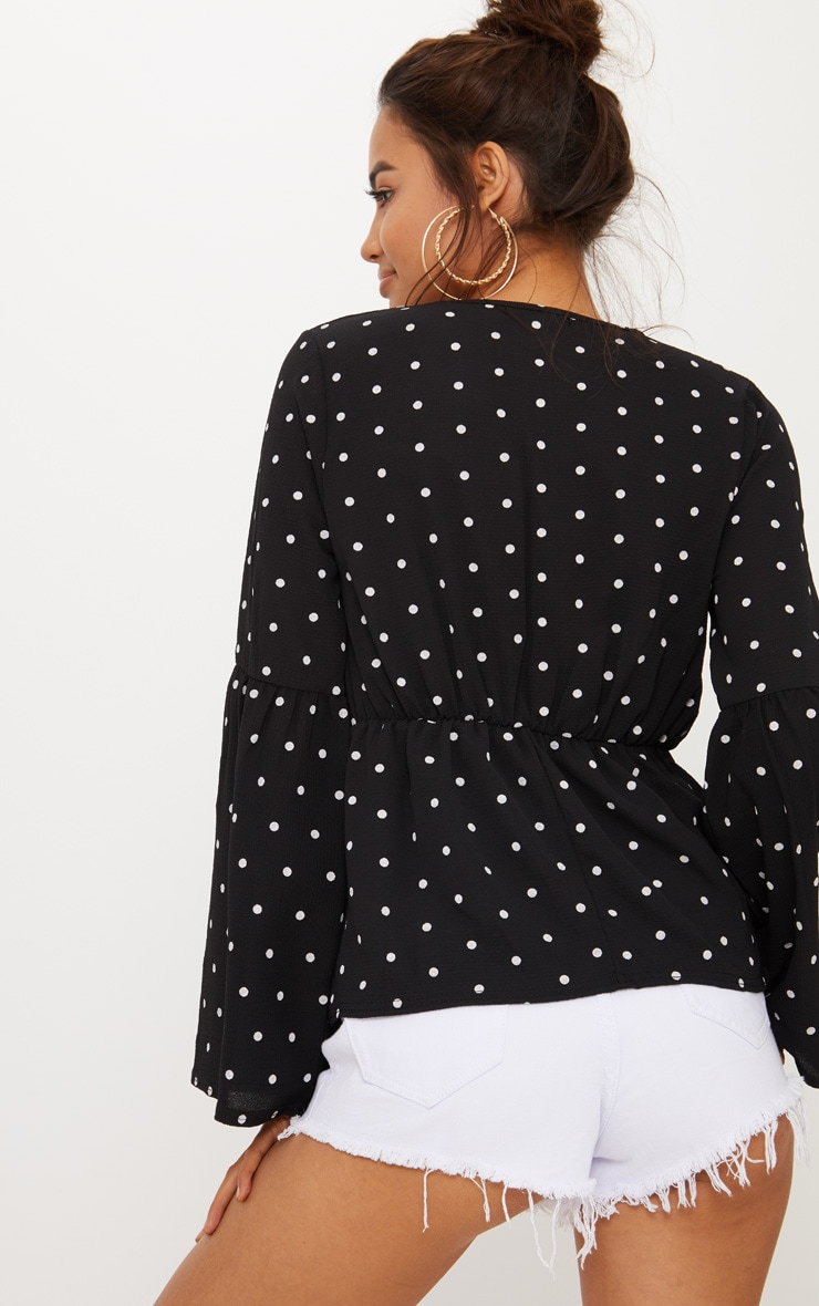 Black Polka Dot Chiffon Flare Sleeve Top 2
