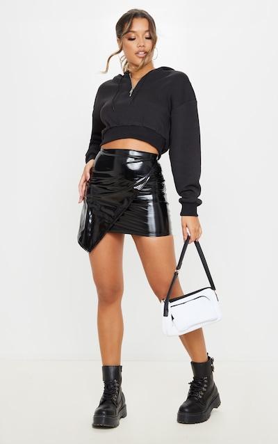 Black Vinyl Wrap Mini Skirt