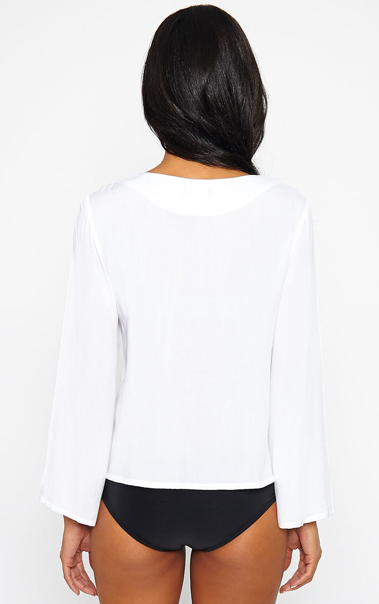 Mylie White Tie Front Top 3