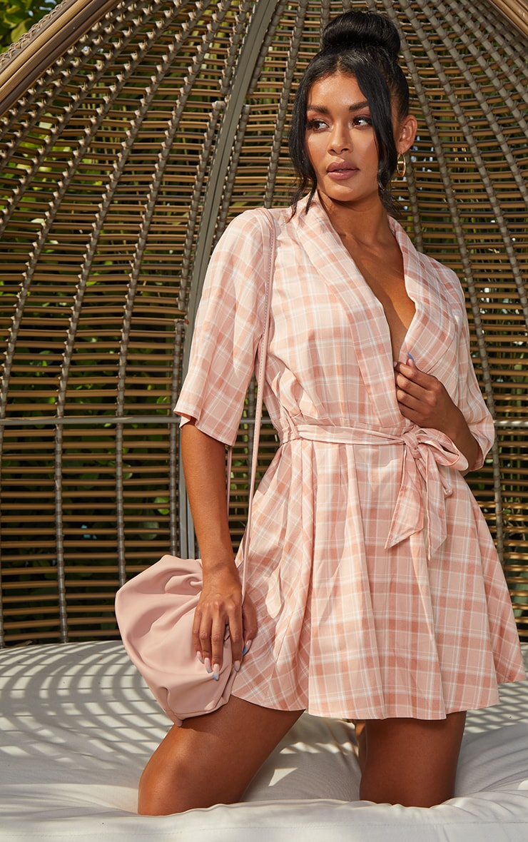 Blush Check Tie Tea Dress 3