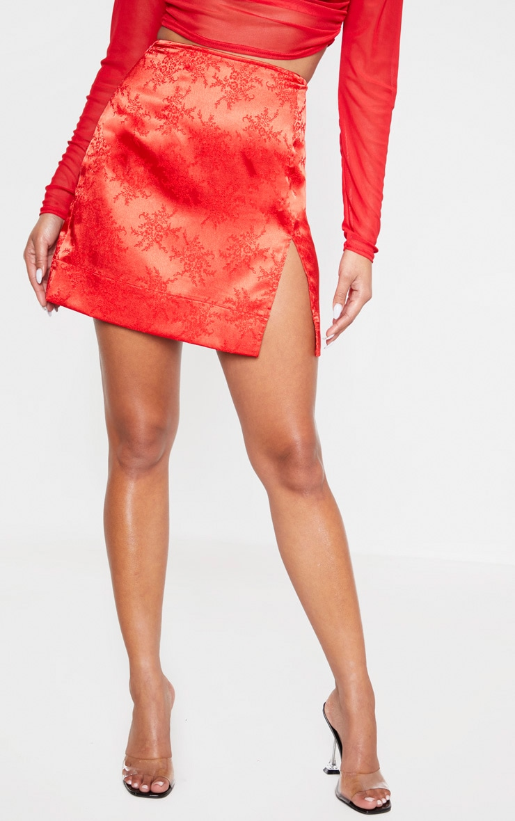 Red Oriental Jacquard Split Front Mini Skirt 2