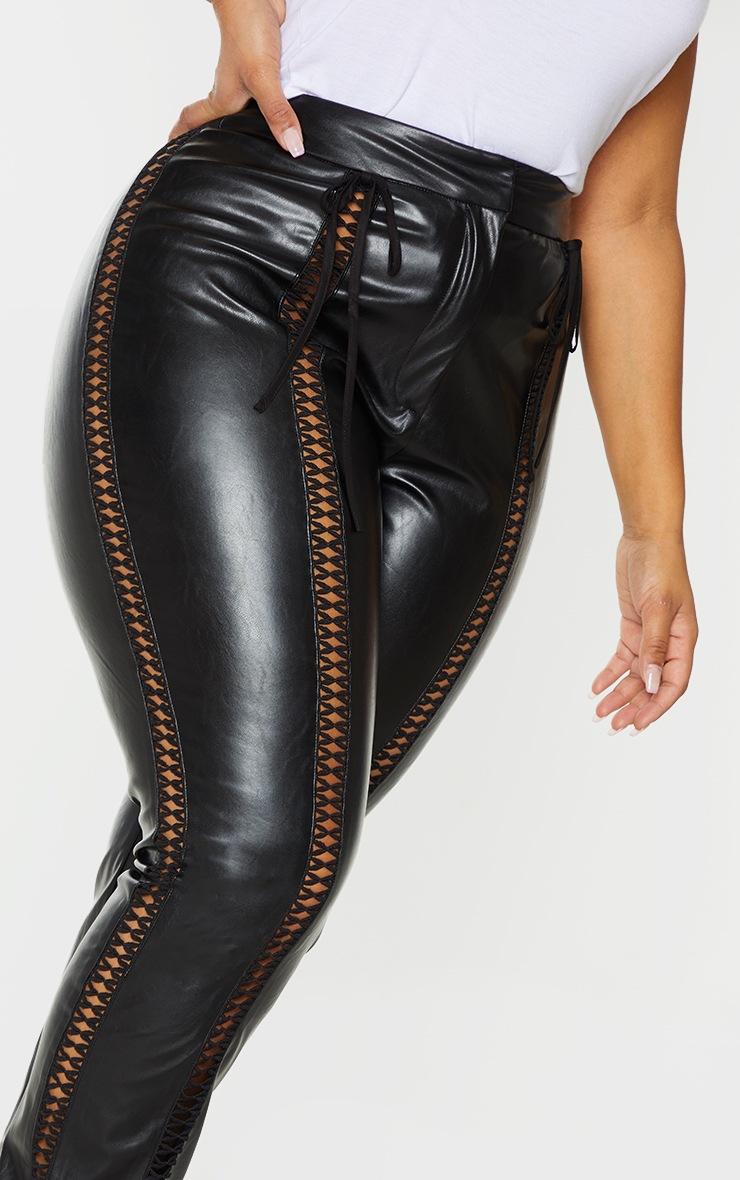 Plus Black PU Lace Up Detail Pant 4