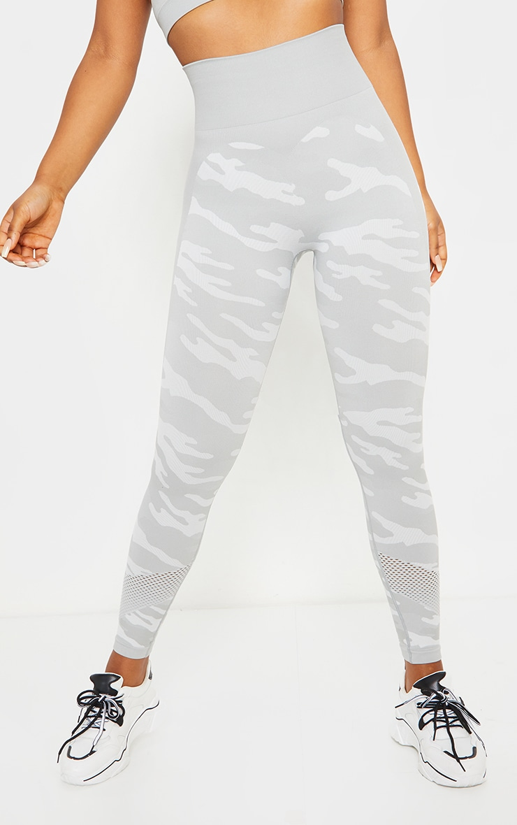 Grey Camo Seamless Gym Leggings 2