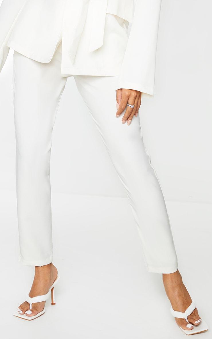 Cream Woven Ankle Grazer Trousers 2