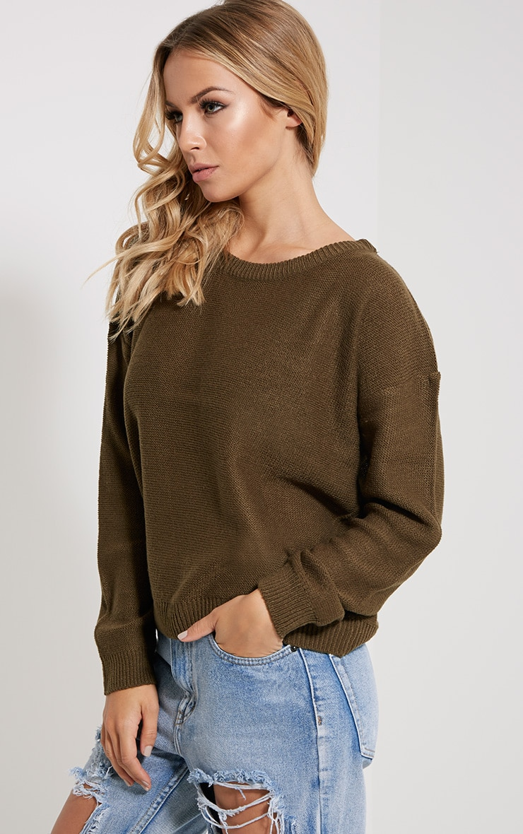 Farren Olive Knitted Crop Jumper 4