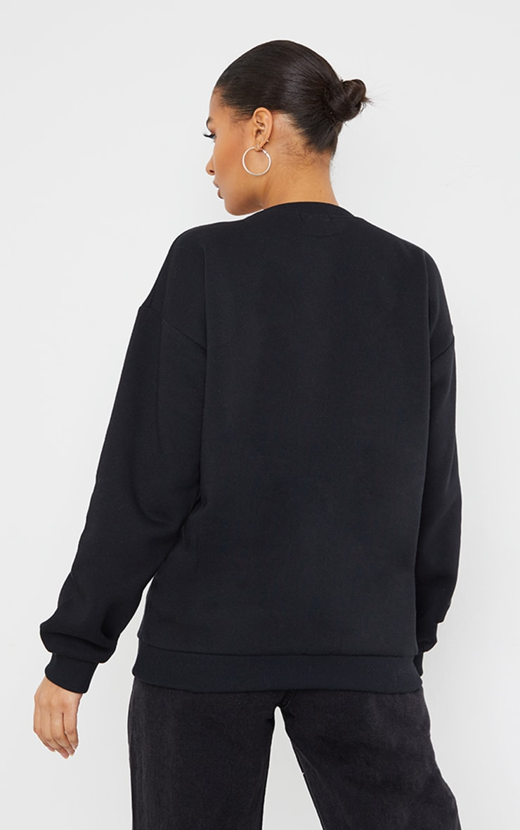 Black J'Adore You Slogan Embroidered Sweatshirt 2