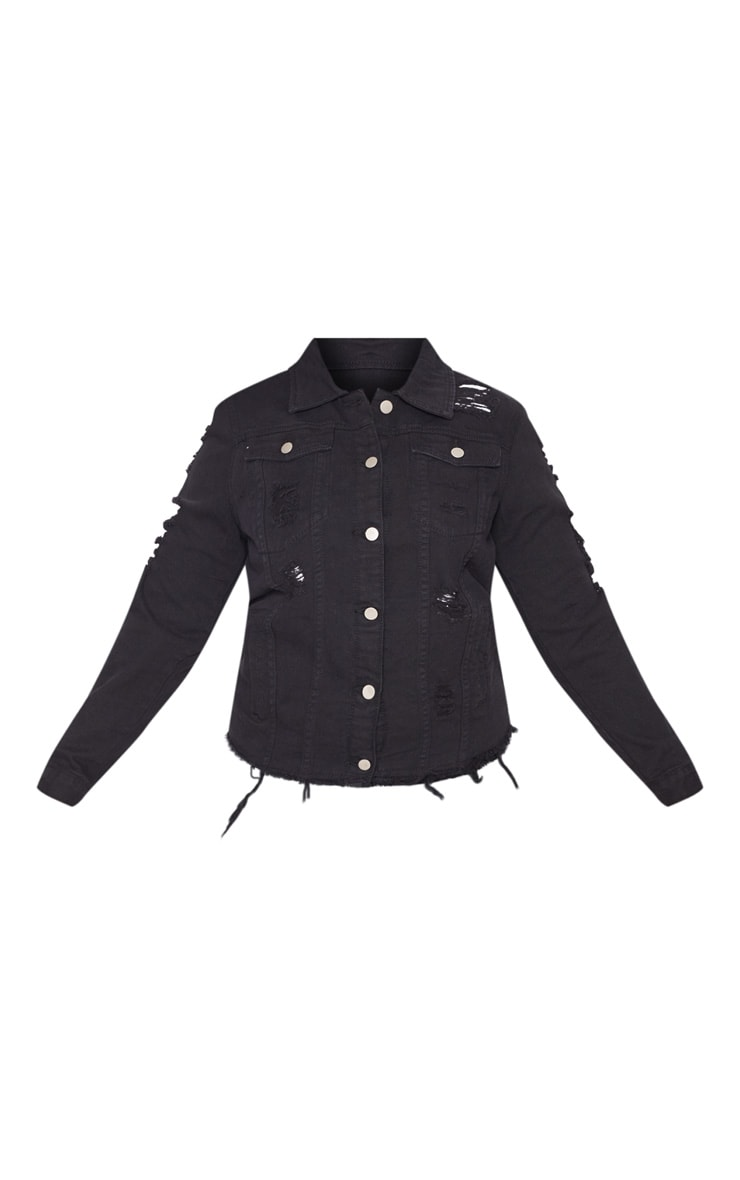 Plus Black Distressed Oversized Denim Jacket 3