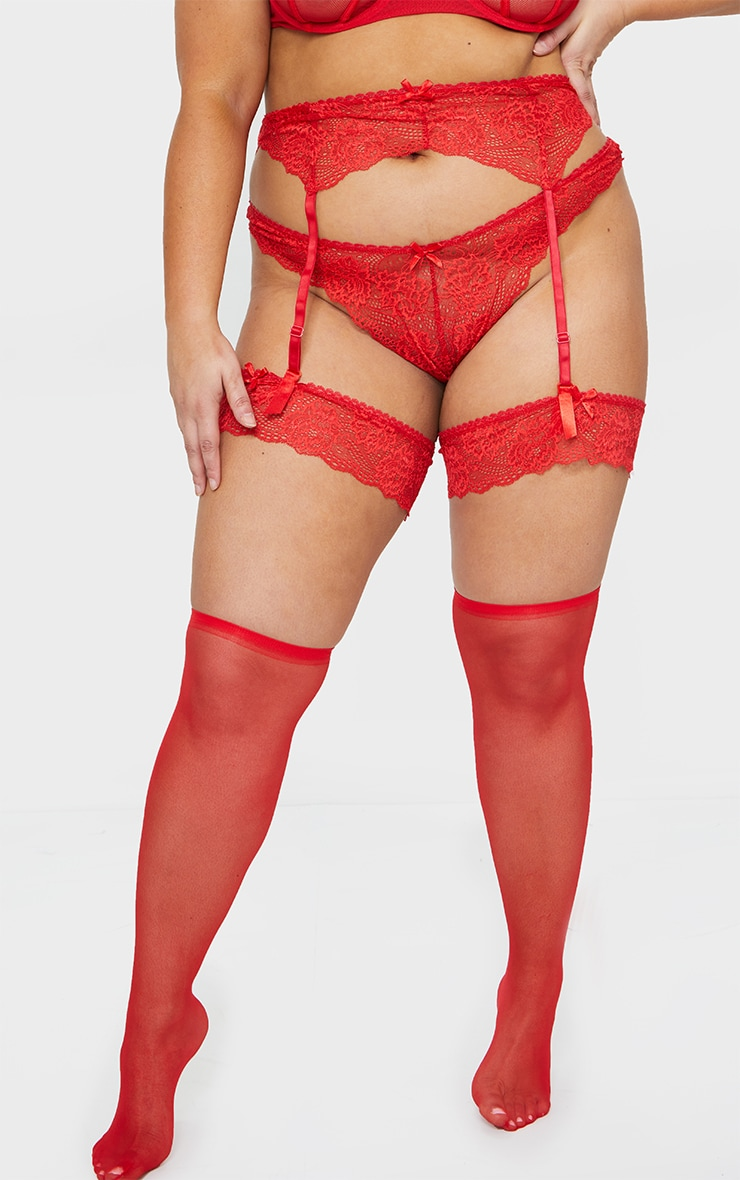 Plus Red Suspender, Hold Up & Knickers Set 1