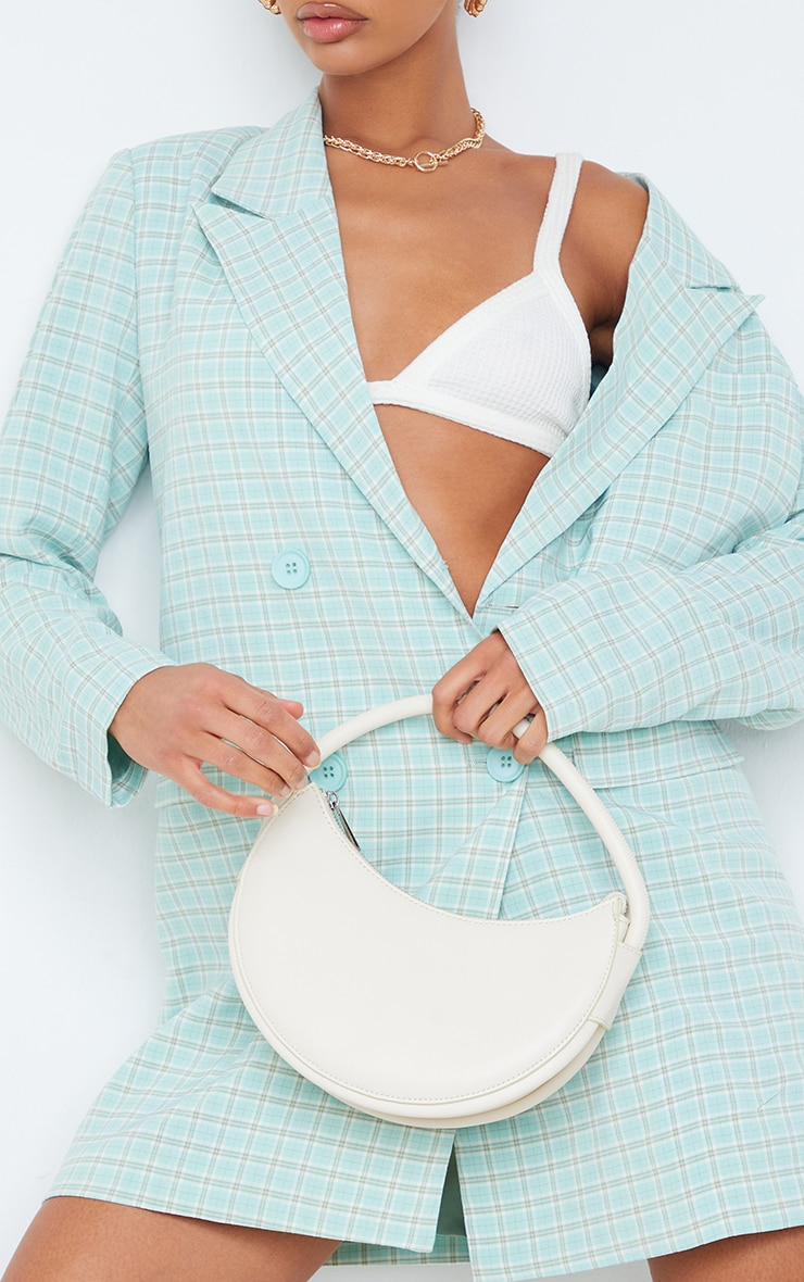 Mint Check Print Double Breasted Oversized Blazer Dress 4