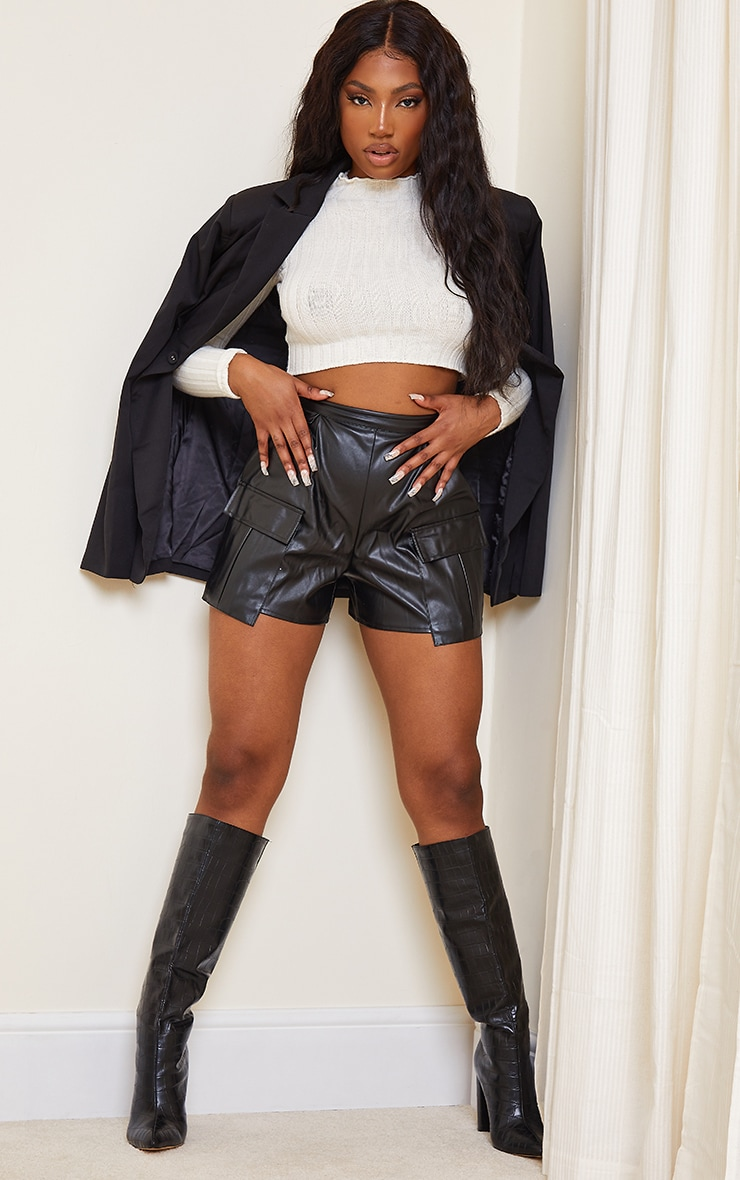 Black Faux Leather Pocket Detail Pleated Shorts 4