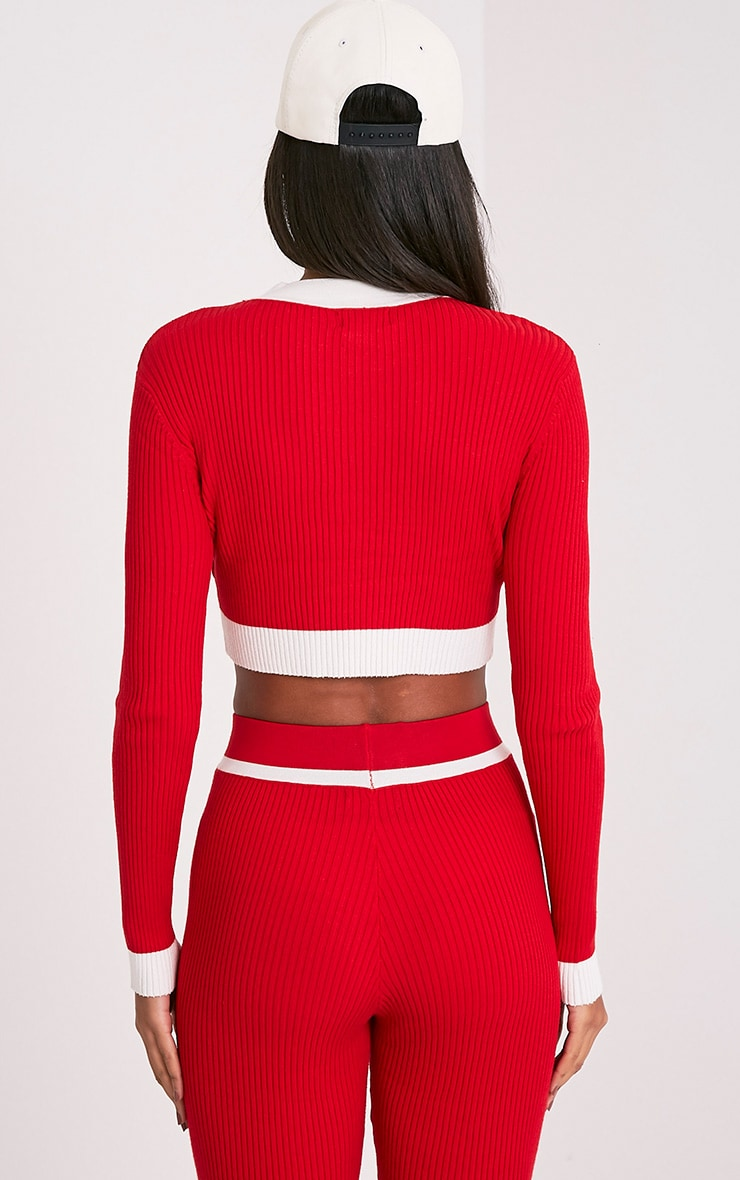 Sufiya Red Colour Blocked Knit Ribbed Crop 2