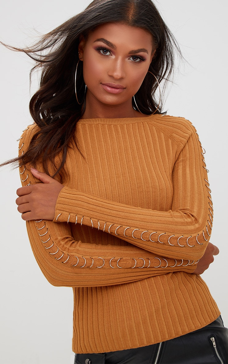 Yellow Ring Detail Ribbed Jumper 1
