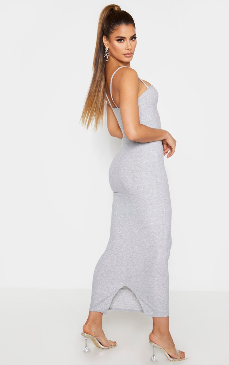 Tall Silver  Strappy Bodycon Maxi Dress  2