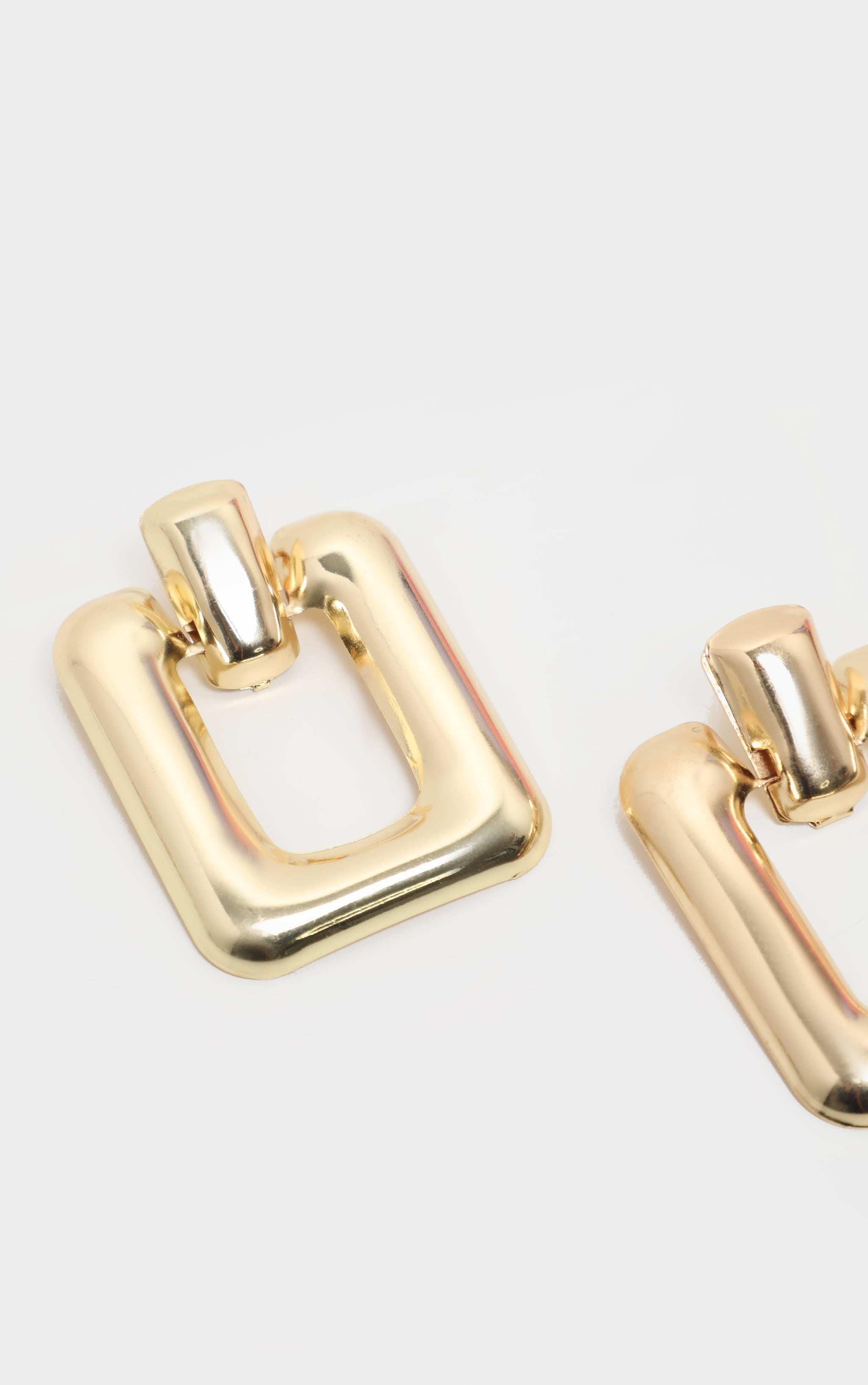 Gold Curved Rectangle Door knocker Earrings 3