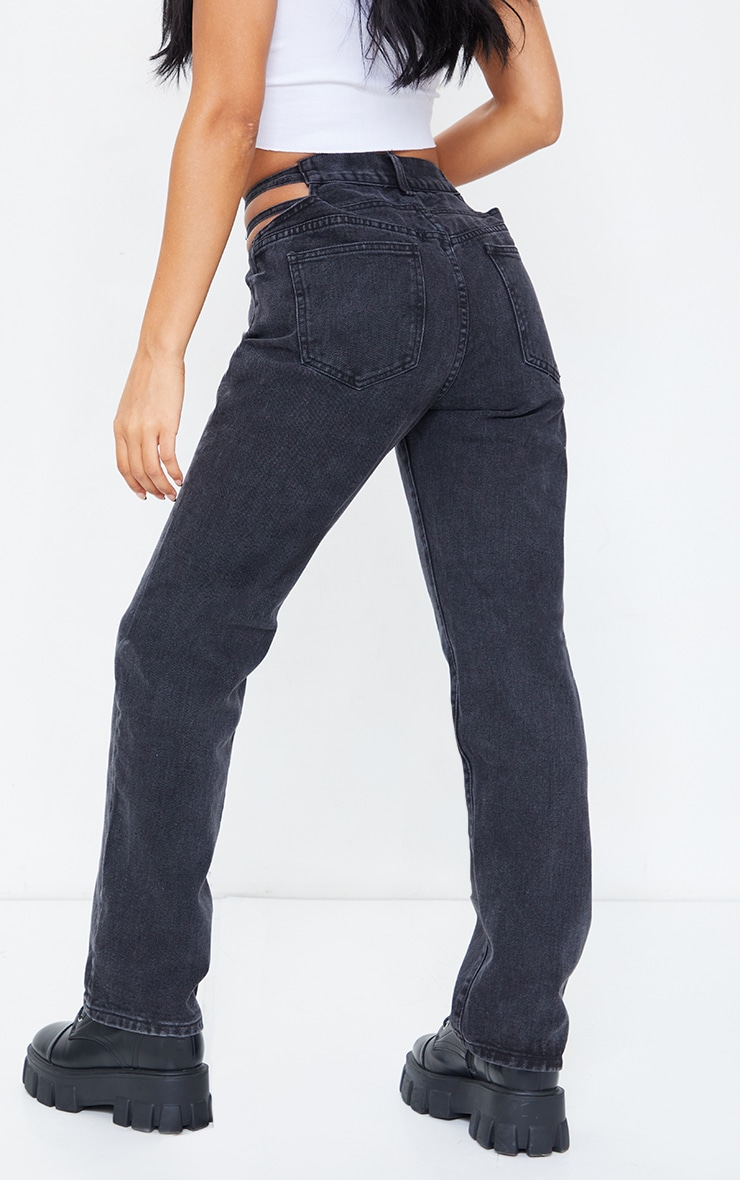 Washed Black Strappy Cut Out Hip Straight Leg Jeans 3
