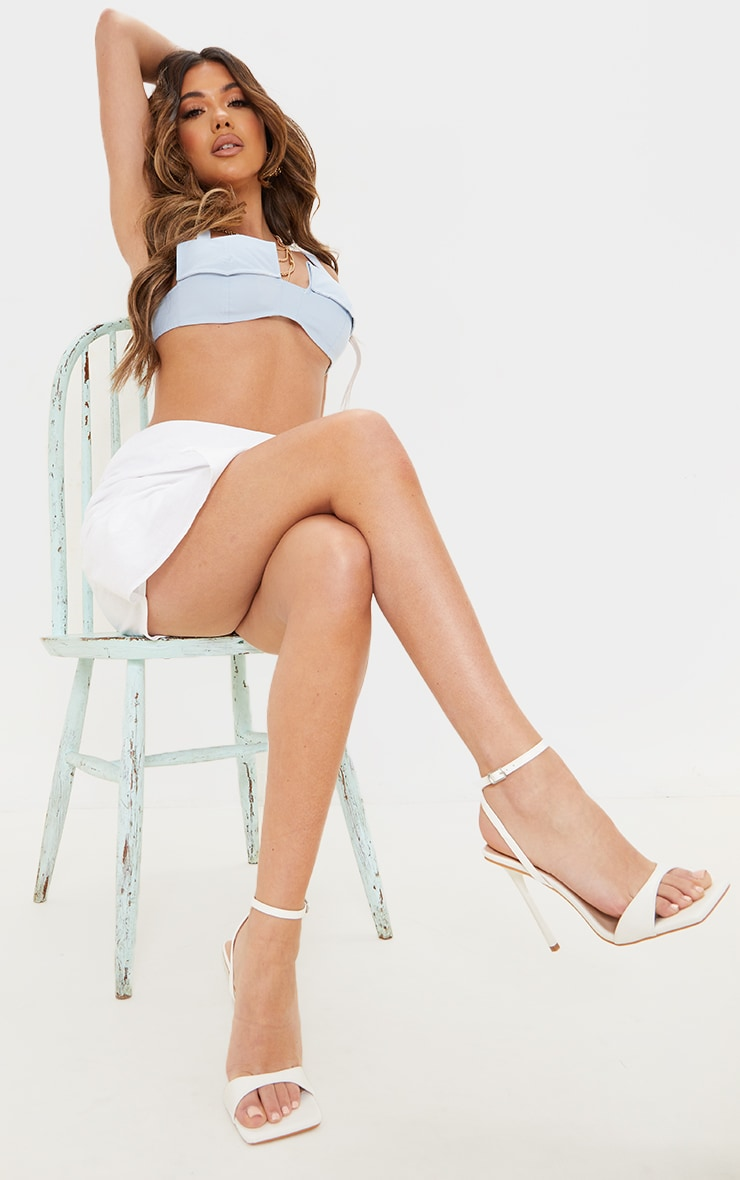 White PU Barely There Cross Back Strap High Heeled Sandals 1
