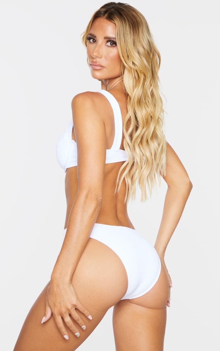 White Mini Crinkle Underwired Square Neck Bikini Top 2