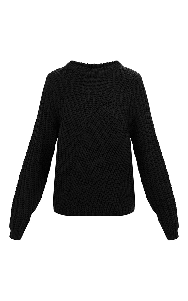 Black Chunky Knit Round Neck Jumper 3