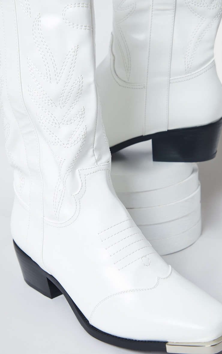White Contrast Stitch Square Toe Western Calf Boots 4