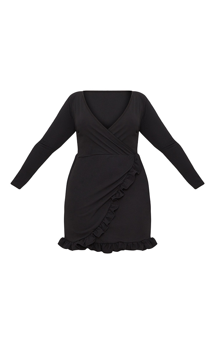 Plus Black Ruffle Detail Wrap Dress 3