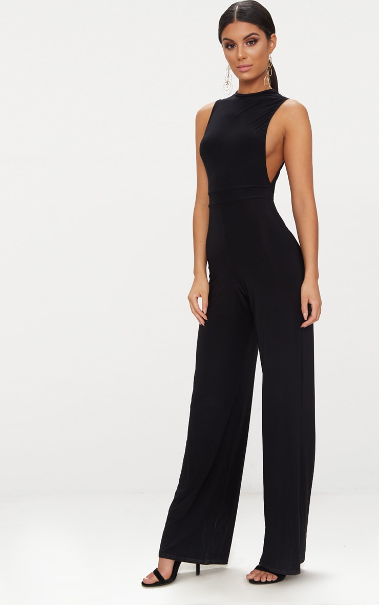 Black Slinky Side Boob Jumpsuit