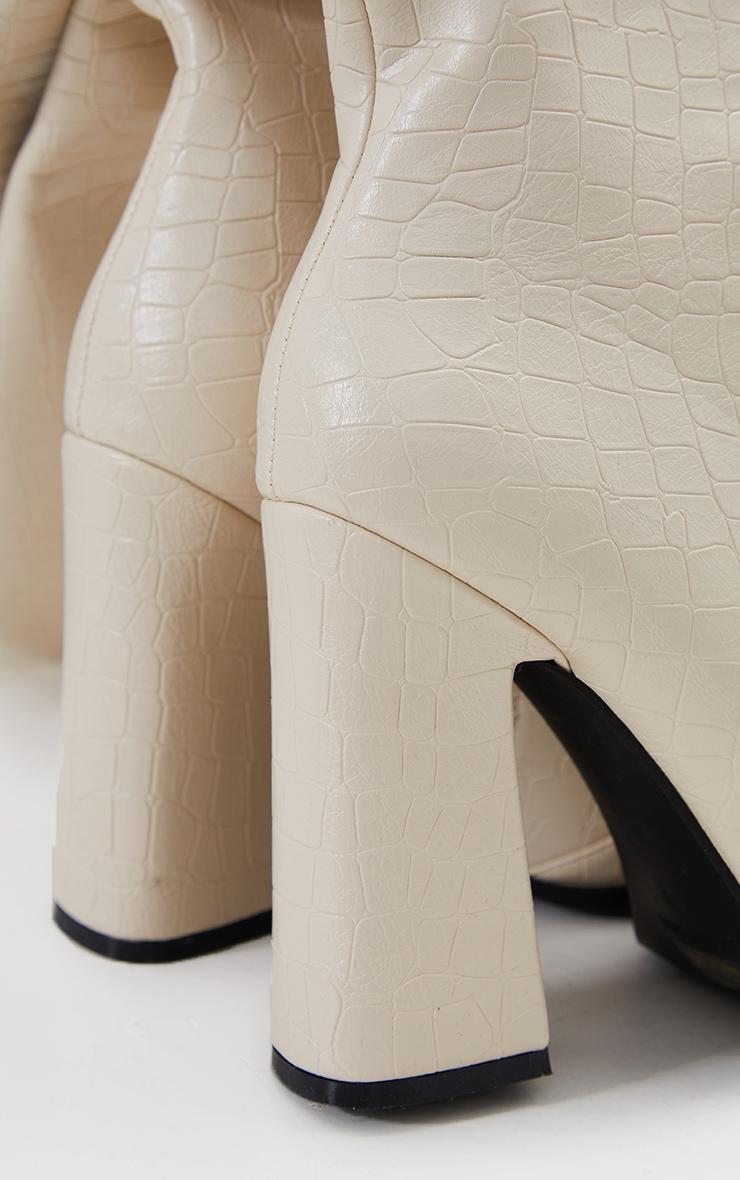 Cream Croc High Block Heel Knee Boots 4