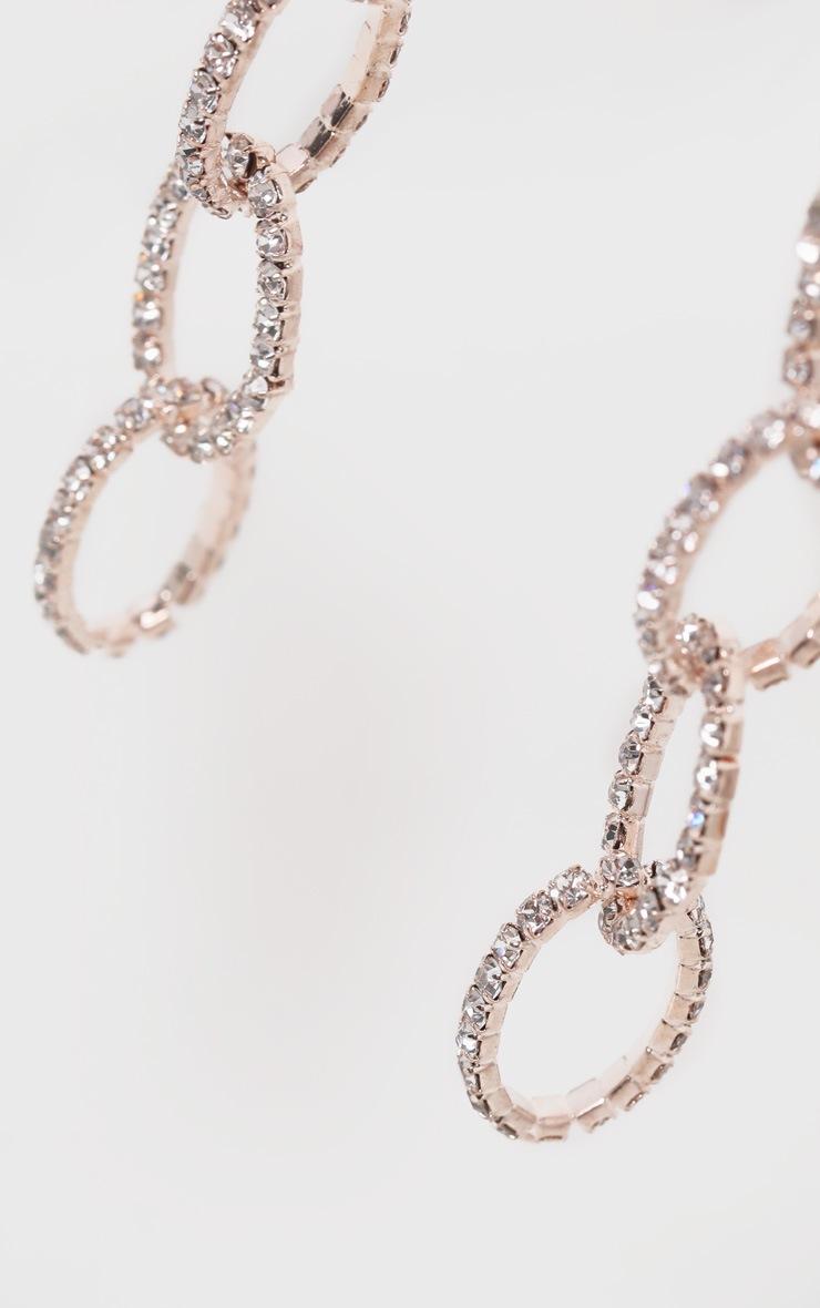 Gold Diamante Chain Links Drop Earrings 3