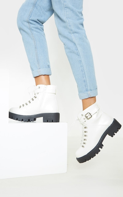 White Hiker Lace Up Ankle Buckle Boot